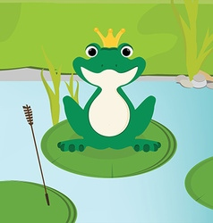 Green frog in crown vector