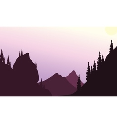 Silhouette of hills with purple backgrounds vector