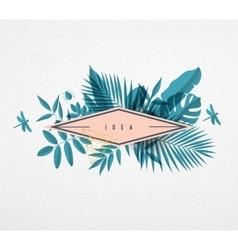 Frame floral frame blue vector image