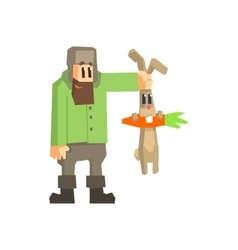 Man holding rabbit by the ears vector