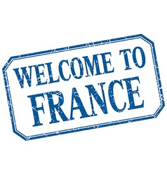 France - welcome blue vintage isolated label vector
