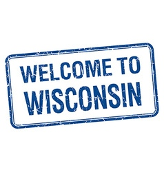 Welcome to wisconsin blue grunge square stamp vector