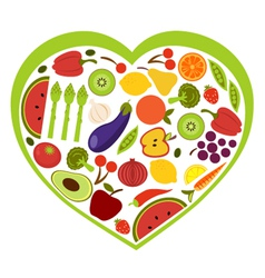 Fruit and vegetables heart shape vector image