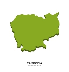 Isometric map of Cambodia detailed vector image