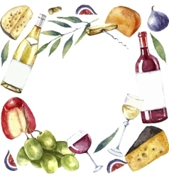 Watercolor wine and cheese frame vector