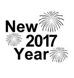 Happy new year 2017 text and fireworks silhouette vector