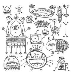 Ethnic ornamental cute monsters set vector