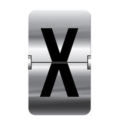 Alphabet silver flipboard letters x vector