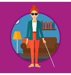 Blind woman with stick vector image