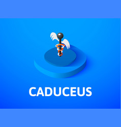 caduceus isometric icon isolated on color vector image