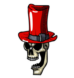 Cartoon image of laughing skull in top hat vector
