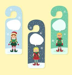 Christmas hanger greeting card elves elf girl vector