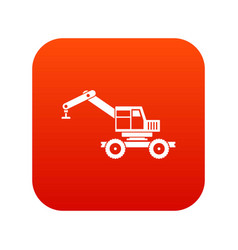 Crane truck icon digital red vector