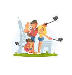 family doing selfie on vacation vector image