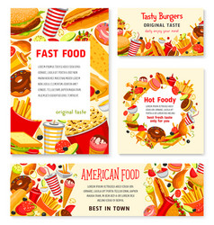 Fast food restaurant menu posters templates vector