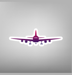 Flying plane sign front view purple vector