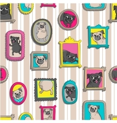 Frames with portraits of pugs Seamless pattern vector image