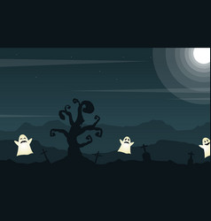 Halloween background with grave and cute ghost vector