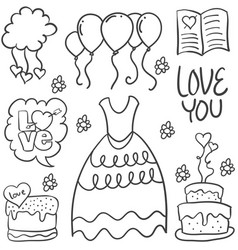 Hand draw element wedding in doodles vector