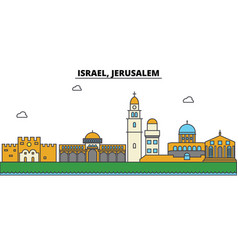 Israel jerusalem city skyline architecture vector