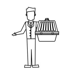 man holding pet carrying box transport image vector image vector image