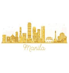 Manila philippines city skyline golden silhouette vector