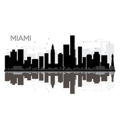 Miami city skyline black and white silhouette vector