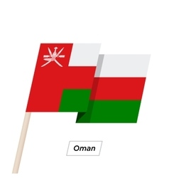Oman ribbon waving flag isolated on white vector
