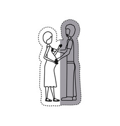 People pregnant woman and her husband icon vector