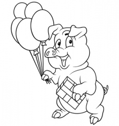 piglet and balloons vector image vector image
