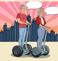 pop art young man and woman riding segway vector image vector image
