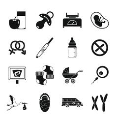 Pregnancy symbols icons set simple style vector