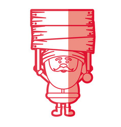 Red silhouette of santa claus with wooden banner vector