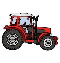 Red tractor vector