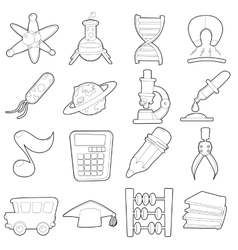 Science education icons set cartoon outline style vector