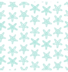 Seamless pattern with sea stars in blue color vector image vector image