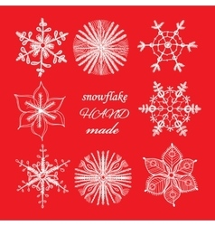 Set of different hand drawn snowflakes vector image vector image