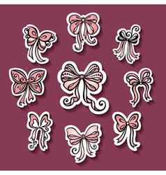Set of Stickers with Ornamental Holiday Bows vector image