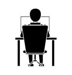 Silhouette guy back working laptop chair desk vector