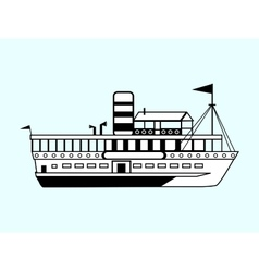 Small white retro ship vector