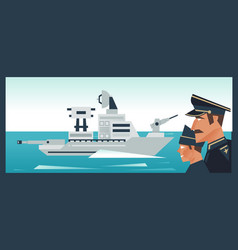 the destroyer in the ocean a military boat vector image