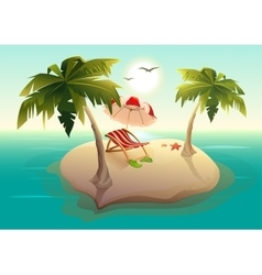 Tropical island in sea Palm trees sand sun vector image vector image