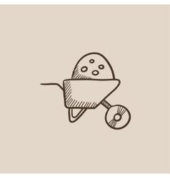 Wheelbarrow full of sand sketch icon vector
