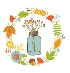 Wild flowers in a glass jar with floral wreath vector image