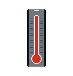 Thermometer with high temperature icon flat style vector
