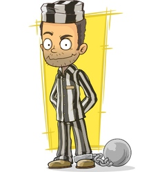 Cartoon prisoner in black and white vector