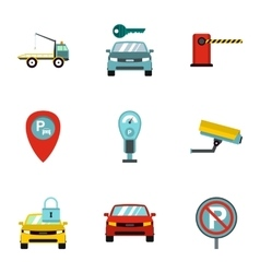 Parking area icons set flat style vector