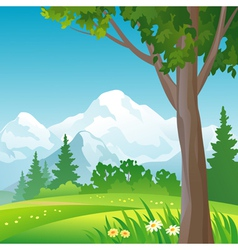 Mountain forest square background vector