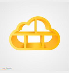 golden cloud database shelf vector image