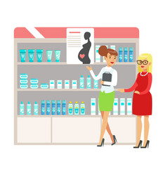 Pregnant woman in pharmacy choosing and buying vector